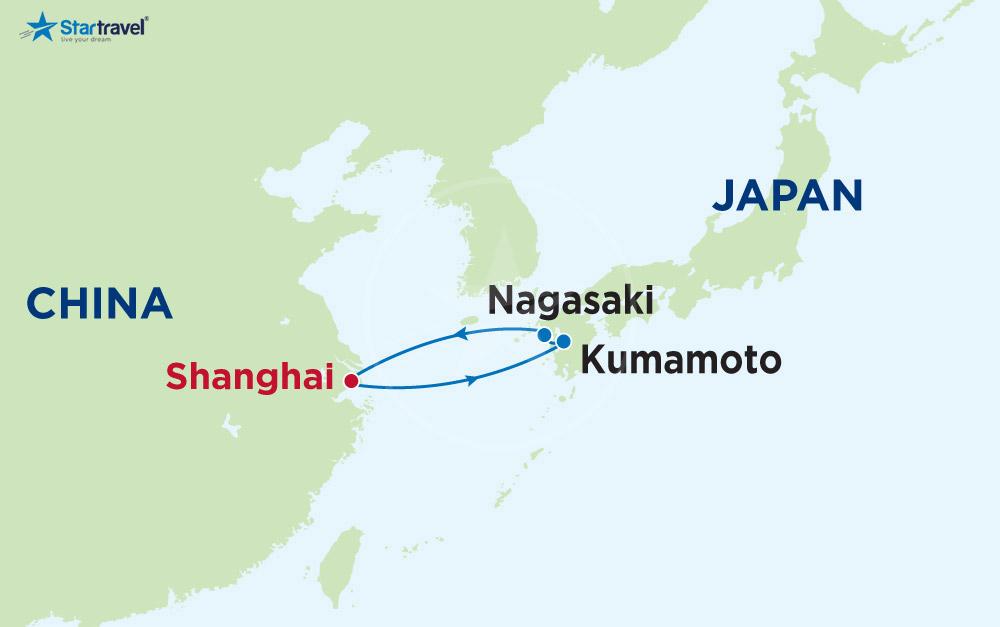Tour du thuyền khám phá Thượng Hải - Kumamoto - Nagasaki