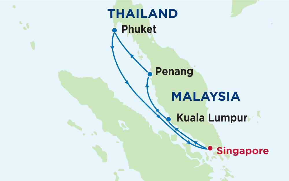 Tour du thuyền 5 sao đi Singapore - Malaysisa - Thái Lan