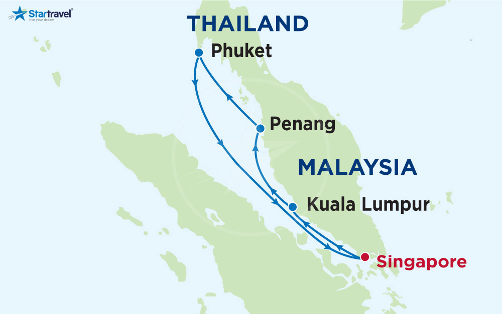 Khởi đầu năm mới đến Singapore - Kuala Lumpur - Penang - Phuket cùng Du thuyền Mariner