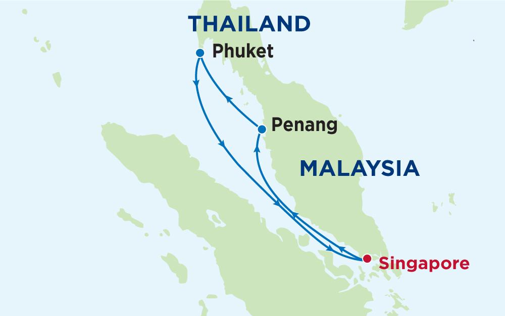 Tour du thuyền 5 sao Singapore - Malaysia - Thái Lan