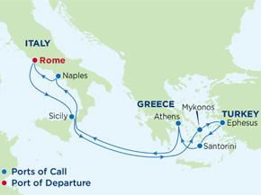 Tour Ý - Hy Lạp - Thổ Nhĩ Kỳ cùng Du thuyền 5 sao Jewel of the seas