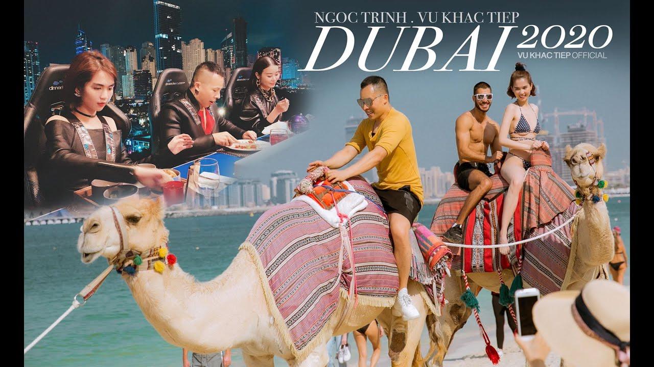 Ngọc Trinh - Khắc Tiệp chơi lớn mặc bikini cưỡi lạc đà trên biển, ăn tối trên không ở Dubai